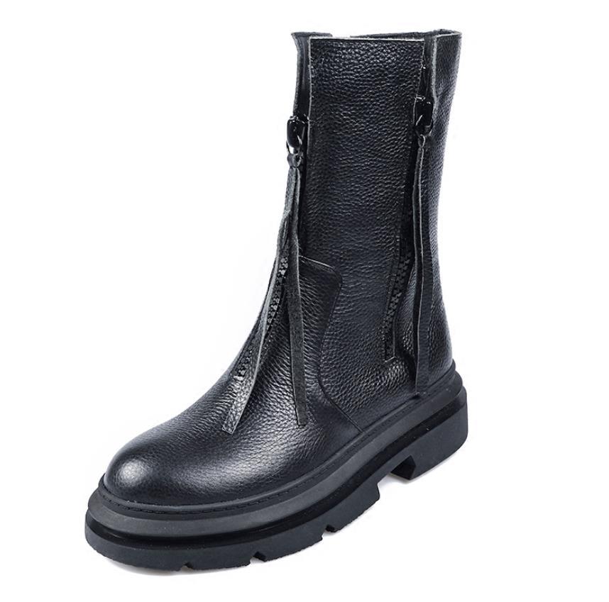 Botas Negro Cuero Invierno Barril Doble Cremallera Y De Medio La Martin El  Moda Nueva Otoño R7P60nxw fc54186914d8