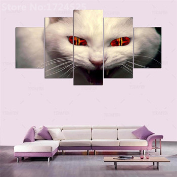 5 панелей HD современных животных, кошки Книги по искусству печати холст Книги по искусству стены Картины для Гостиная печать рисунка на холс...