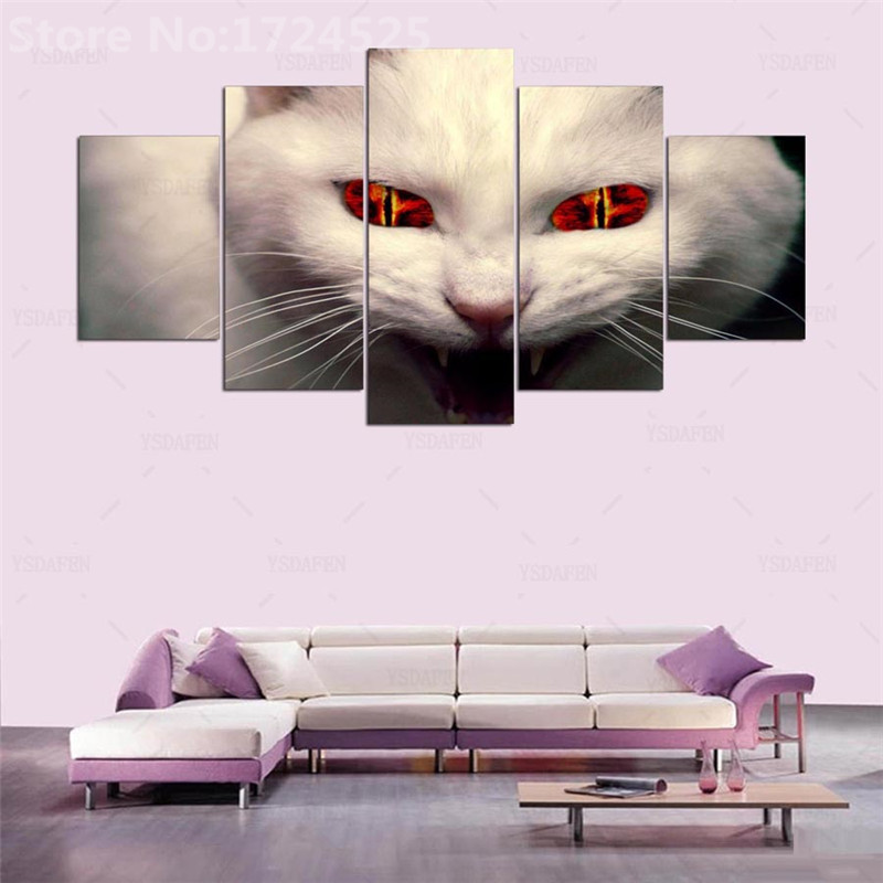 5 Panels HD Modern Animal Cat Art Print Canvas Art Wall Paintings For Living Room Print Picture On Canvas Painting On The Wall