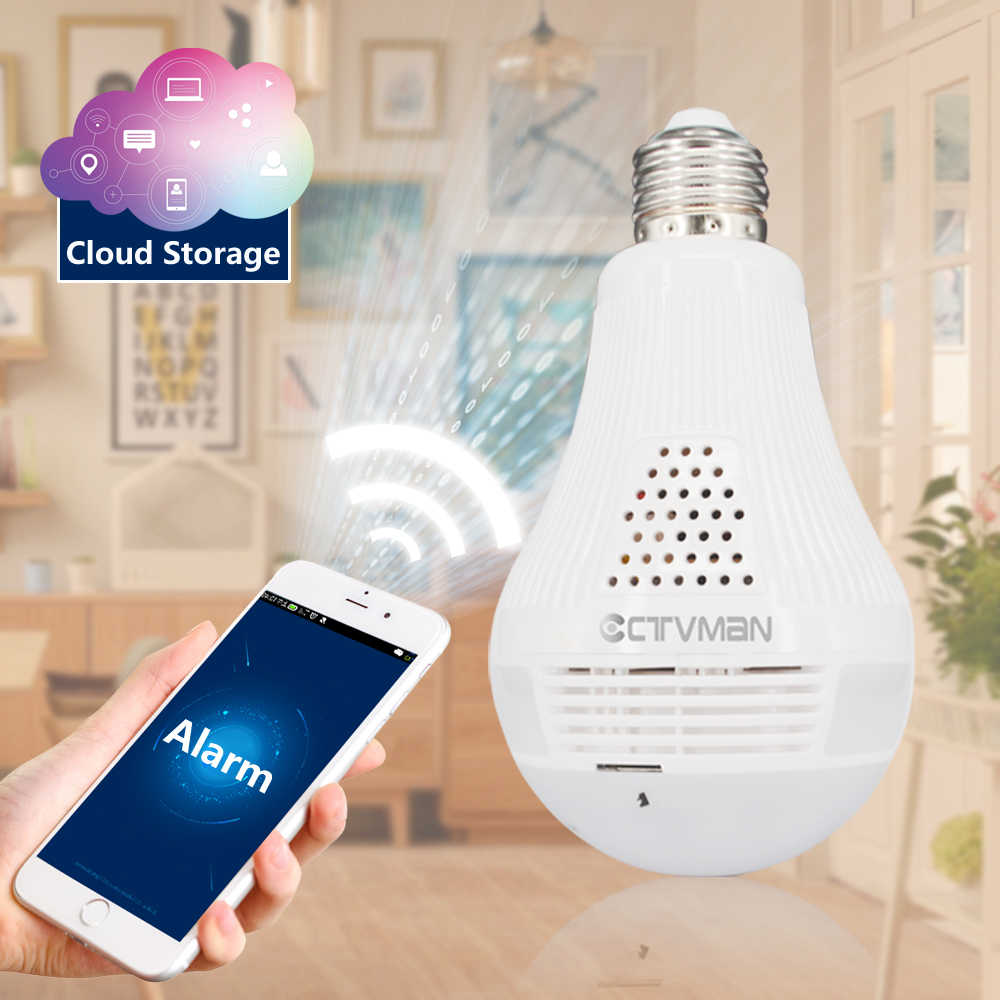 CTVMAN Security Camera Wifi Cloud Panoramic Bulb Cameras Dome HD 1080P Fisheye 360 Video Surveillance Wireless IP Camera Webcam