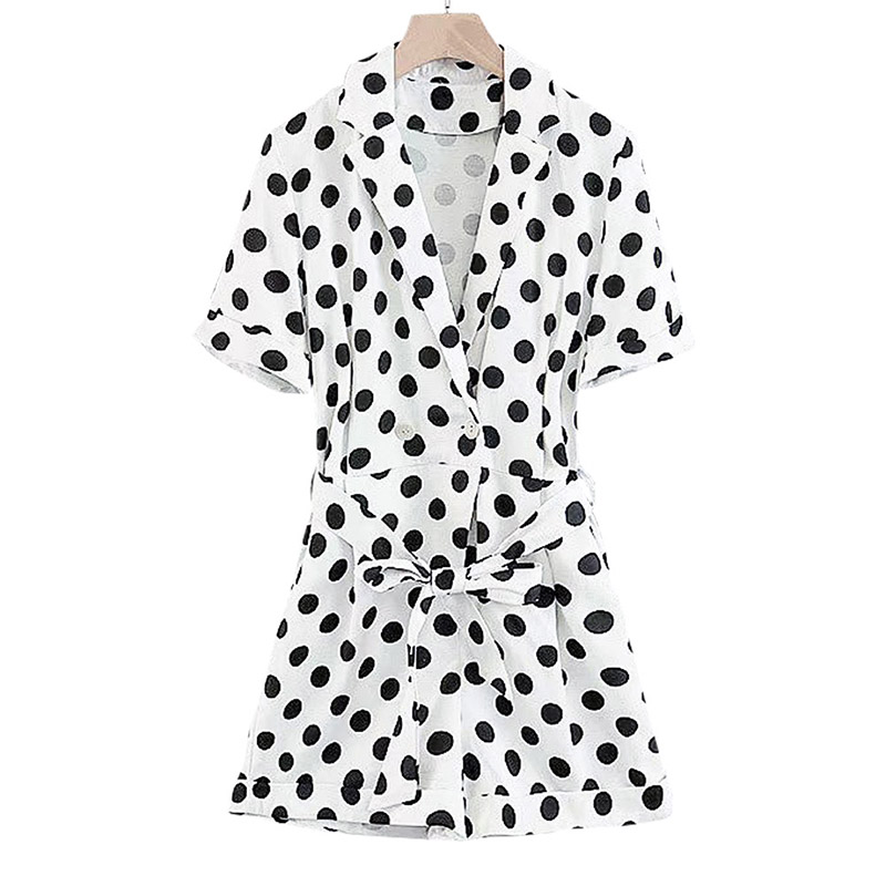 Women Retro Polka Dot Print Playsuits V Neck Bow Tie Sashes Pockets Short Sleeve Rompers Ladies Casual Cute Jumpsuits