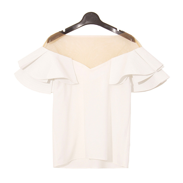 Clothing 2017 Summer New Women Tops Tee Shirts Fashion  Lotus Leaf V-Neck Tee Splicing Perspective T-shirt Sexy Short Sleeves