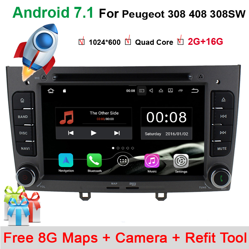 "7"" Quad Core Android 7.1 Special Car DVD for Peugeot 308 I (T7) 2008-2011 & 408 2010-2011 with Radio,Bluetooth,RDS,GPS,canbus"