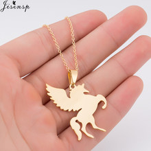 Jisensp New Women Jewelry Vintage Gold Cool Horse with Wing Pendant Long Necklace Men Gift Animal Unicorn Necklace Collares(China)