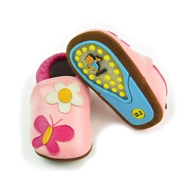 Flor inverno quente genuínos Mocassins De Couro Do Bebê sapatos criança menina miúdo Primeiros Caminhantes bonito sola de borracha dura