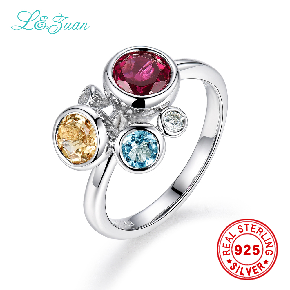 l&zuan Trendy & Noble Sterling Silver Jewelry Ring 4 Colors Natural 0.82ct Garnet Red Stone Prong Setting Ring for Women Ring trendy environmental alloy openwork width ring for women