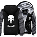 The Punisher Hooded Anime skull Coat 2017 men fashion fleece Sweatshirt casual Thicken Jacket winter zipper trackuit homme down