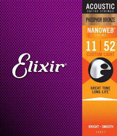Elixir Original 16027 Acoustic Phosphor Bronze With NANOWEB Coating Custom Light 011-052