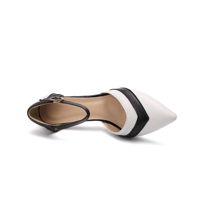 Square scarpe New punta tacchi alti colore Asumer sposa donna 43 33 Size scarpe a Women 2019 da Plus nero Buckle pumps misto 7Cm bianco qqI8v7