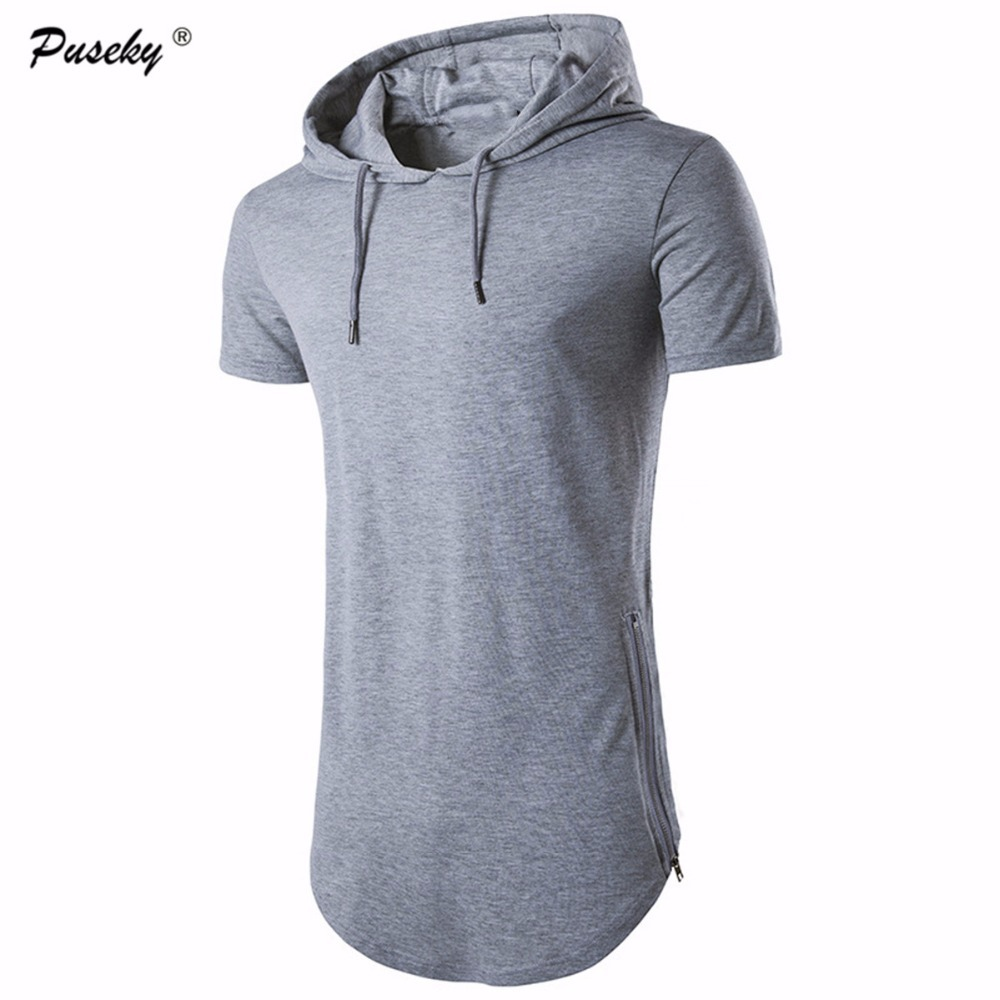 Slim Male pullovers Tops Mens Hooded T Shirt Hip Hop TShirt Men Zipper Shirts Short Sleeve Tees Men Hooded hoodies Plus size XXL
