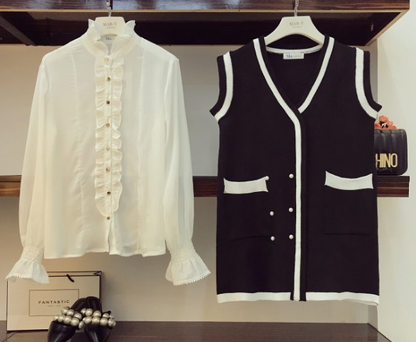 Noir En Soie Pièces De Femmes Boutonnage Deux Longues Automne Nouvelle Double Mousseline Gilet Des 2018 Robe À Chemise Manches Ensemble Tricoté Mode m0N8wn