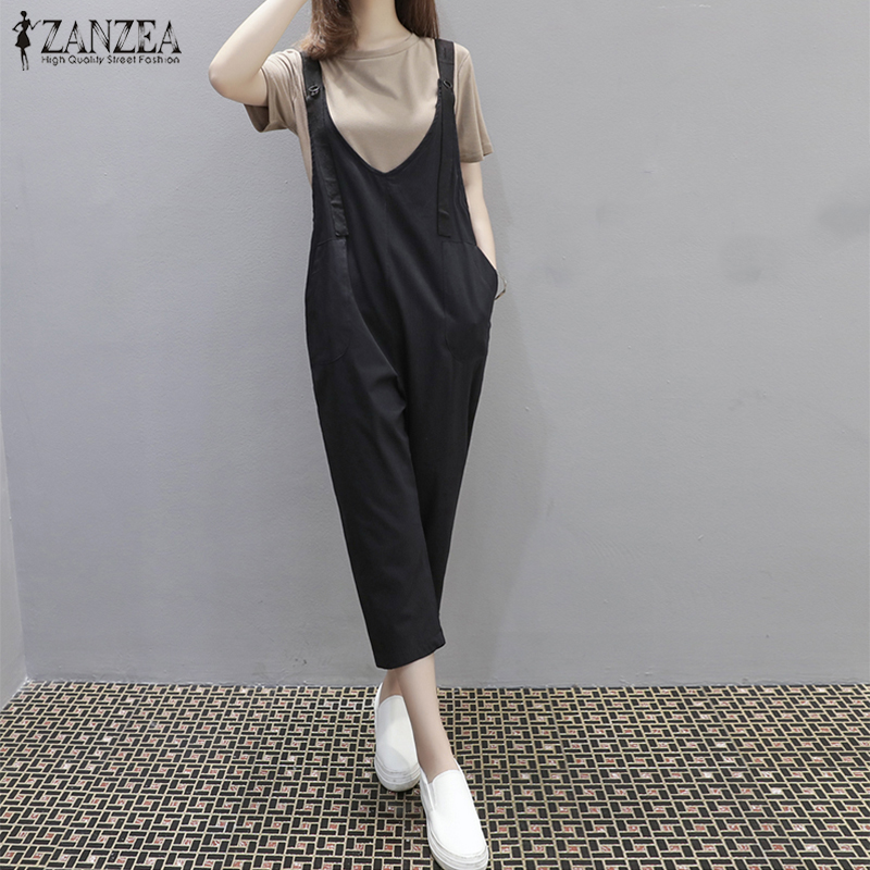 2018 Fashion ZANZEA Summer Women Solid Wide Leg Rompers Casual V Neck Sleeveless Pockets Long Loose Turnip Jumpsuits Overalls