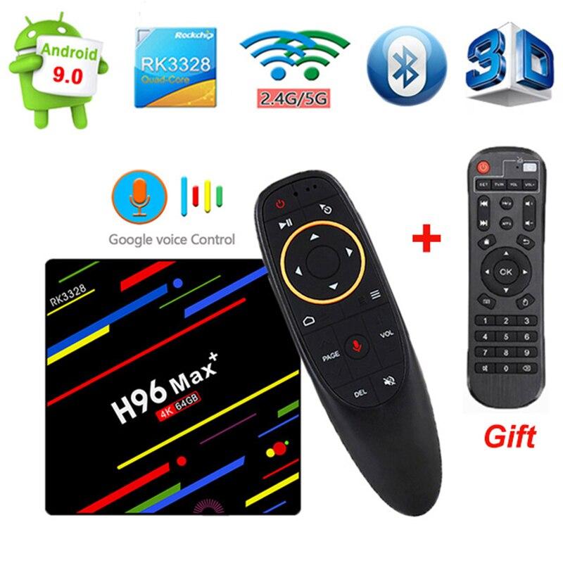 H96 MAX Plus RK 3328 Android 9.0 Smart TV Box 4 GB RAM 32/64 GB ROM 2.4G/5G Wifi 4 K H.265 lecteur multimédia à commande vocale pk M8S PRO W