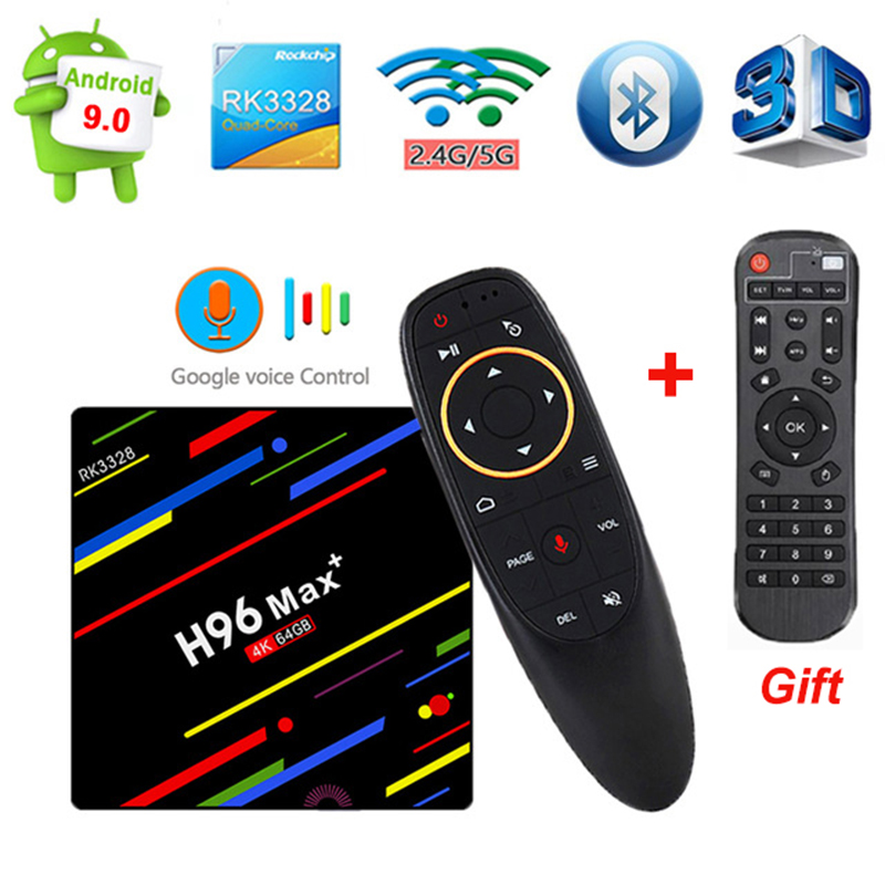 H96 MAX Plus RK 3328 Android 9.0 Smart TV Box 4 GB RAM 32/64 GB ROM 2.4G/5G Wifi 4 K H.265 lecteur multimédia à commande vocale pk M8S PRO W