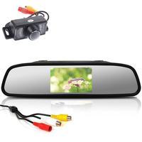 Waterproof Car Rear View Camera Backup Car Reverse Camera with 4.3 Inch Sunshade TFT LCD Digital Car Monitor Rear View Mirror