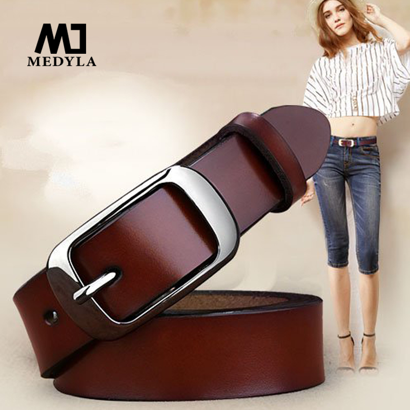 MEDYLA Female Belt Women Genuine Leather Fashion All-match Belt Women's Cowhide Casual Pants  Belt(China)