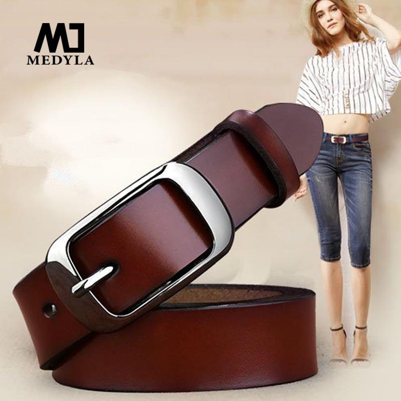 MEDYLA Weibliche gürtel Frauen aus echtem leder mode allgleiches gürtel frauen rindsleder casual hosen gürtel