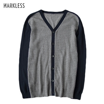Markless V-neck Sweater Men 2018 Autumn 100% Cotton Sweater Male Slim Fit Knitted Sweaters Cardigans pull homme sueter hombre markless o neck sweater men 100% cotton winter warm stripe sweaters pullover men christmas pull homme sueter hombre msa3710m