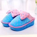 2016 winter  dot bow ladies cotton slippers thick crust muffin high heels slip resistant cotton trailer home slippers z270