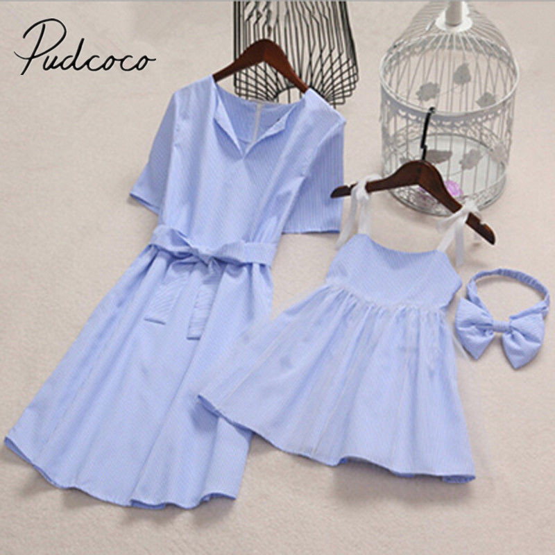 f9d1c573c2c3e 2018 Brand New Fashion Mom Kids Couple Look Stripe Family Matching Outfits  Baby Girls Dress Family Summer Sundress Outfits