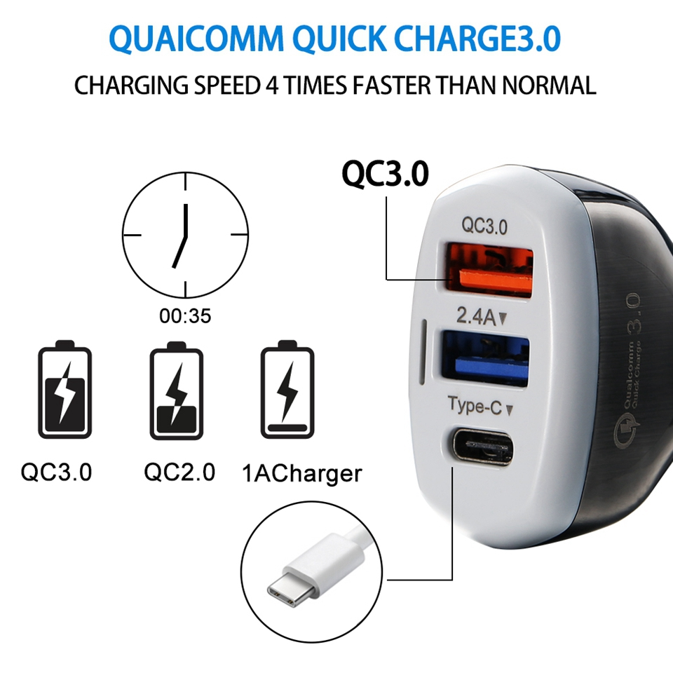 CASEIER Car USB Charger Quick Charge 3 0 For Samsung S9 2 4A USB Phone Charger For iPhone XS MAX XR X Typc C DP QC 3 0 Charger in Car Chargers from Cellphones Telecommunications