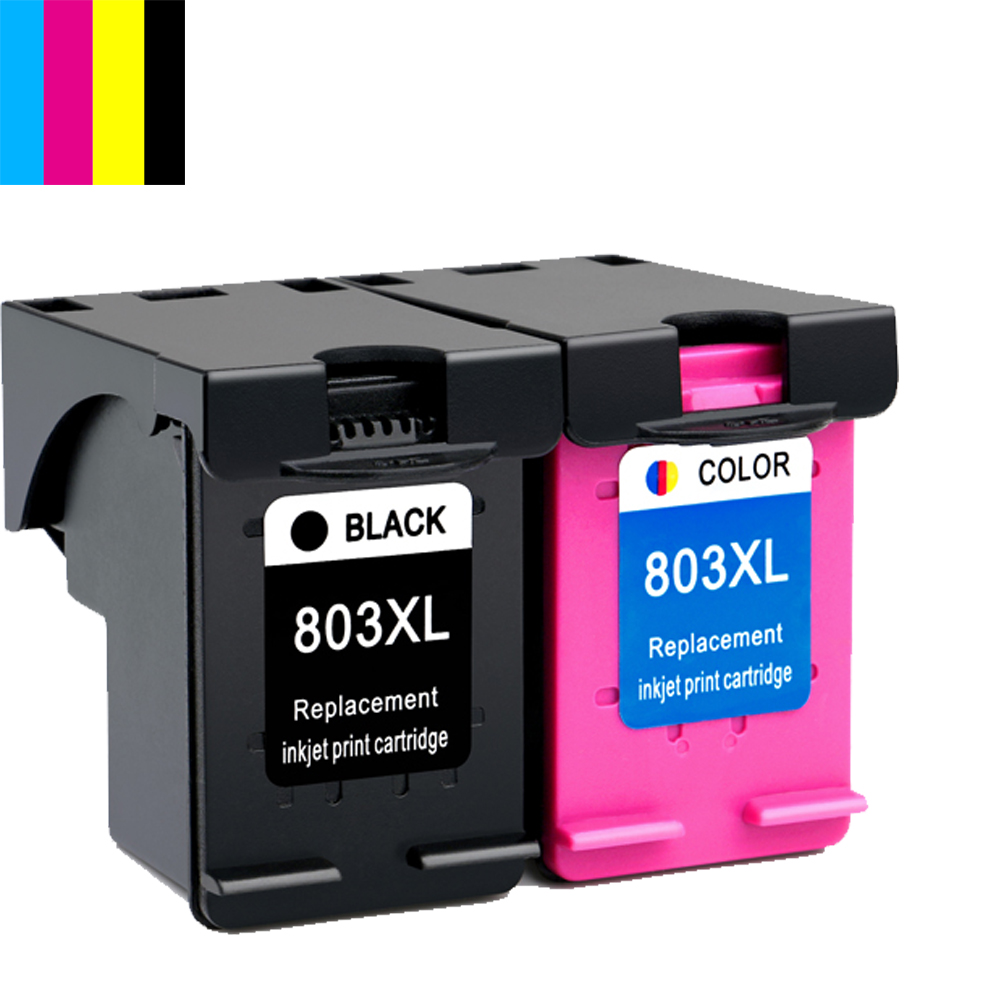 2PK BK & Tri-color 803XL 803 ink cartridge for HP Deskjet 1112 2132 1111 2131 printer cheap ink cartridges printer cartridges