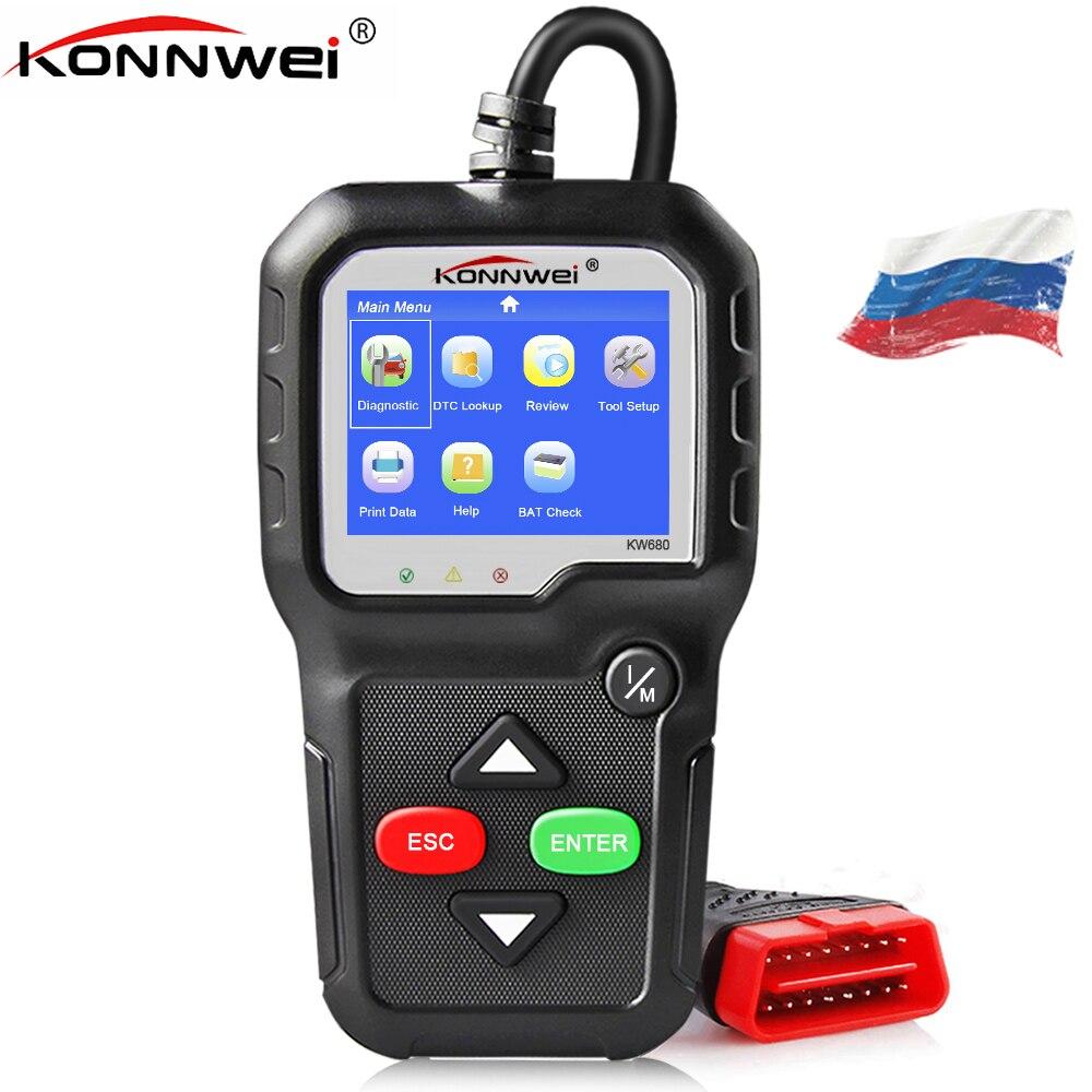 2018 OBD 2 Autoscanner KONNWEI KW680 apoya multilingüe escáner automotriz OBD II Auto completo OBD2 función etiqueta engomada del coche como regalo