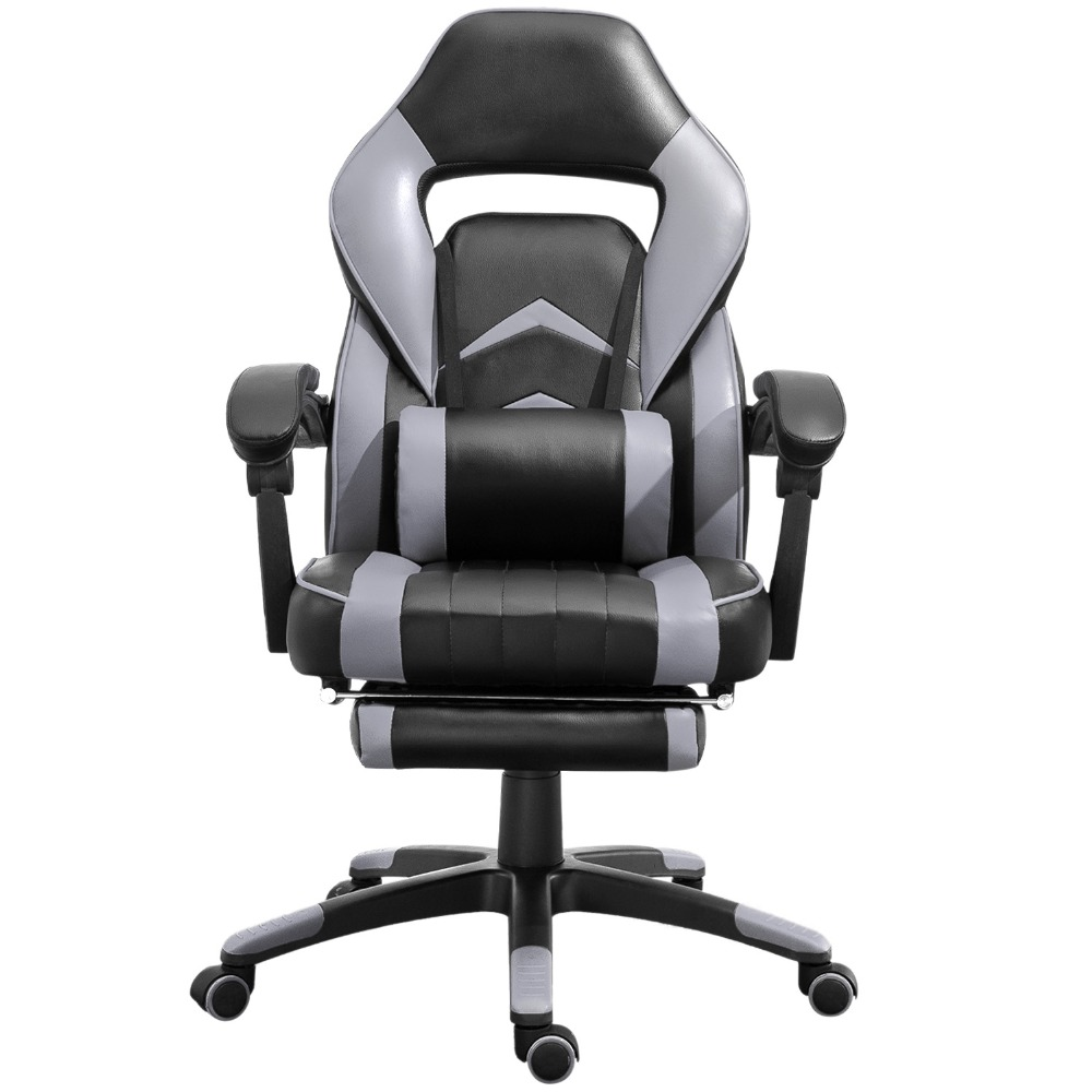 Office-Chair Ergonomic High-Back Gaming Adjustable Seat:19.68-20.4 Gray-Black Gray-Black