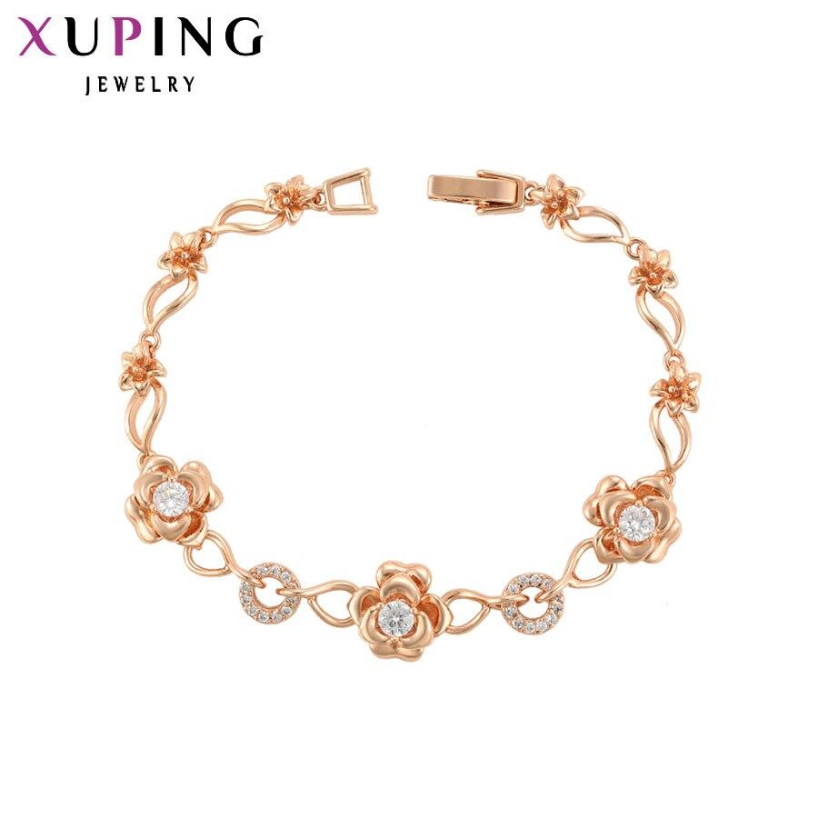 11,11 сделок Xuping Мода браслет из розового золота Цвет с покрытием синтетические ювелирные изделия CZ для Для женщин День матери подарки S94.1-75715
