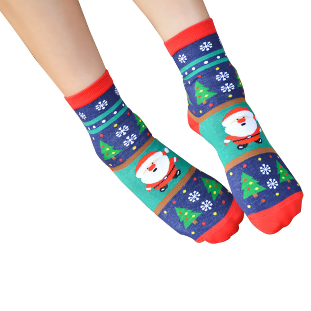 1 Pair Women Winter Warm Christmas Warm Soft Cotton Cute Santa Claus Trees Socks Xmas Christmas socks Female Middle Tube Socks ...