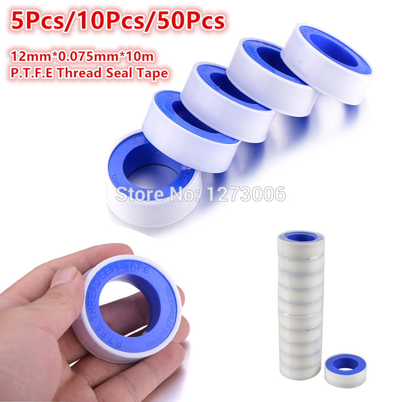 Hot Sale 5/10/50 PCS Tapes 12mm*0.075mm*10m P.T.F.E Sealed Waterproof Raw Material Belt Teflon Thread Seal Plumbing Tape NEW