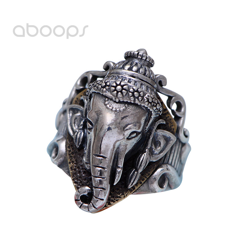 Vintage Two Tone 925 Sterling Silver Ganesha Ring for Men Women Size 7.5-11 Free Shipping plus size two tone layered hooded top