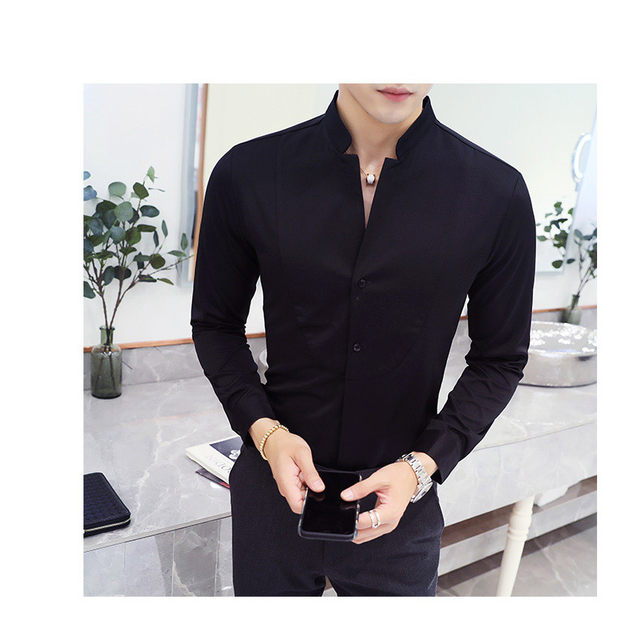 Fall Winter Stand Collar Mens Long-sleeved Dress Shirts Black Red White Slim Elegant Youth Male Business Wedding Formal Shirt 27