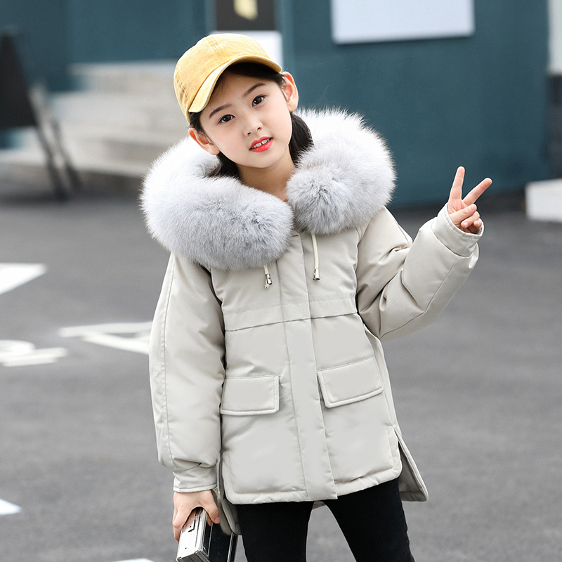 Children Girl Down Coat Jacket Winter Thick Warm Coat Fur Hooded Kids Outerwear Clothing For 4-12T Color Black / Red / Pink