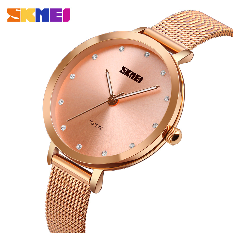 SKMEI Fashion Montre Femme Women Watches Rose Gold Stainless Steel Bracelet Watch Women Luxury Quartz Wristwatch Female Clock