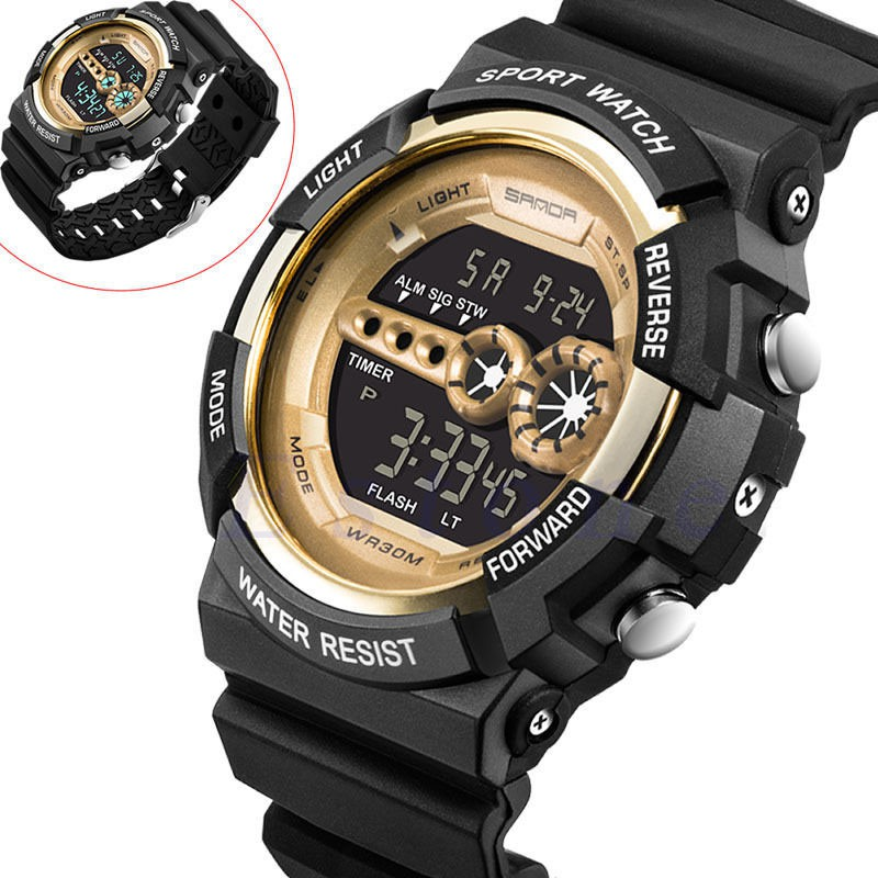 Men Digital Wristwatches Stainless Steel LED Date Alarm Waterproof Watches Sports Army Quartz Watch