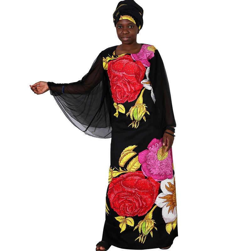 MD afrika elbiseler kadınlar için artı boyutu afrika giyim balmumu baskı çiçek boncuk bazin riche afrika kıyafeti uzun örgü robe femme