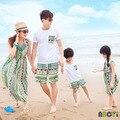 Família de verão da família olhar listrado Bohemia praia mãe filha vestidos de algodão T + Shorts para pai e filho