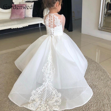 Celebrity Dress Flower-Girl Tulle Lace White Appliques Aline Ivory