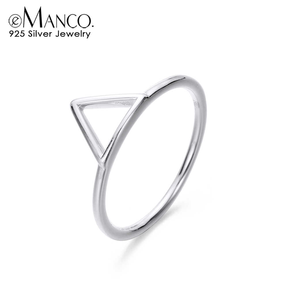 E-Manco 925 แหวนเงินสเตอร์ลิงสามเหลี่ยมมงกุฎแหวนเงิน Minimalist หมั้นแหวนสำหรับเครื่องประดับของขวัญคลาสสิก