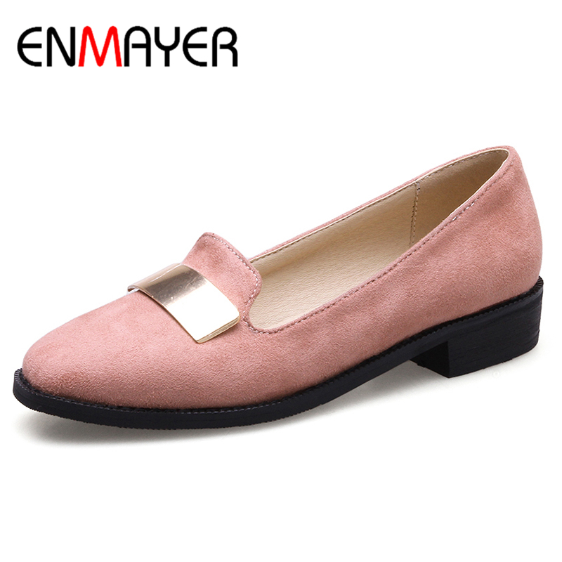ENMAYER Spring Autumn Women Flats Shoes Sequined Square Toe Slip-On Square Heel Large Size 34-46 Black Pink Red 2017 New Flats enmayer pointed toe summer shallow flats slip on luxury brand shoes women plus size 35 46 beige black flats shoe womens