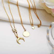 цены на New Design Women Jewelry Long Necklace Set Multi Layered Gold Color Metal Collar Jewelry Moon Charm Neck Chain Pendant Necklace  в интернет-магазинах