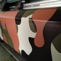Jumbo Red Green Black Camouflage Vinyl Car Wrap Large Camo Film Sheet With Air Bubble Fre