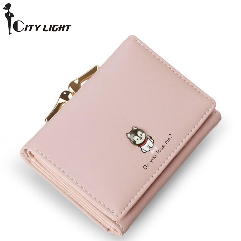 New fashion women wallets short design high capacity three fold small wallet lady wallet coin purse simple women s wallet with tri fold and letter design