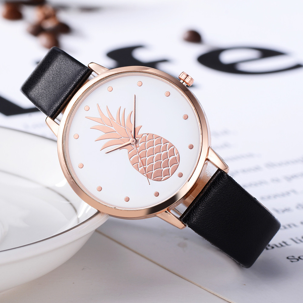Fanteeda Luxury Brand Watches Women Rose Gold Leather Wristwatch Ladies Clock Pineapple Sport Quartz Watch Relojes Para Mujer *A