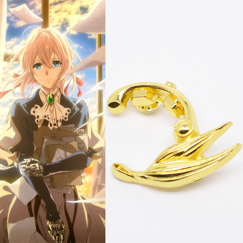 Anime Violet Evergarden Cosplay Prop Accessories Golden Brooch Alloy badge