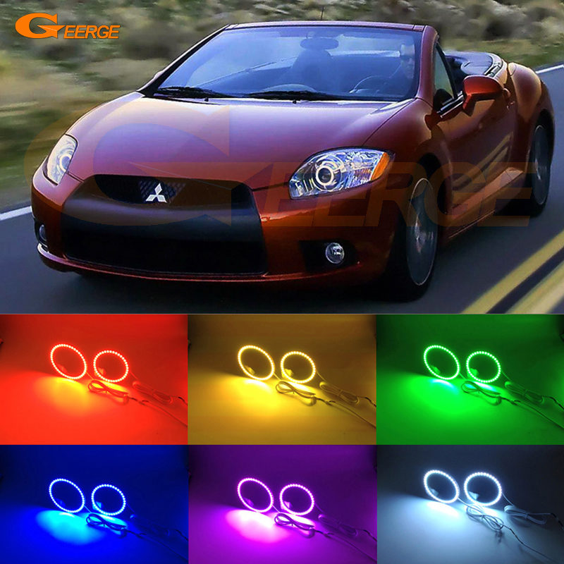 For Mitsubishi eclipse 2009 2010 2011 XENON HEADLIGHT Excellent Angel Eyes Multi-Color Ultra bright RGB LED Angel Eyes kit 2pcs purple blue red green led demon eyes for bixenon projector lens hella5 q5 2 5inch and 3 0inch headlight angel devil demon