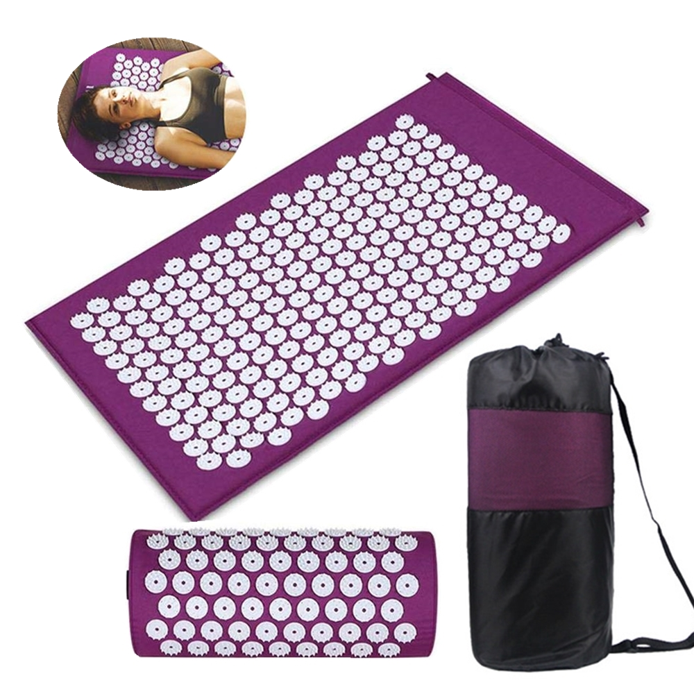 Yoga Acupressure Mat and Pillow Set Cushion Mat Bed Pilates Fitness Massager Relieve Back/Foot/Neck Body Pain with Carry Bag image