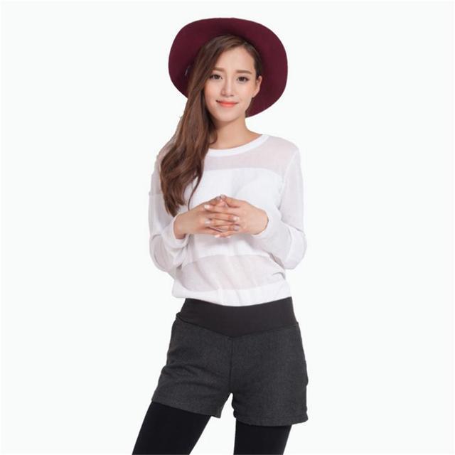 New Autumn Winter Women's Clothing Slim wild Pocket Contrast Color Shorts Female Woolen Crimping Short Pants thick Download D016 2
