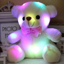 Dropshipping 20CM kolorowe świecące Luminous pluszowe zabawki dla niemowląt oświetlenie nadziewane niedźwiedź Teddy Bear Lovely prezenty dla dzieci tanie tanio Animals Stuffed Plush Soft Flashing Unisex 3 lat Wei Will YZT0-143 Plush Nano Doll Bawełna No Fire Bawełna PP Colorful Bear